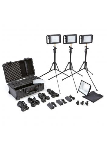 Litepanels Lykos Bi-Color Flight Kit con paquete de batería